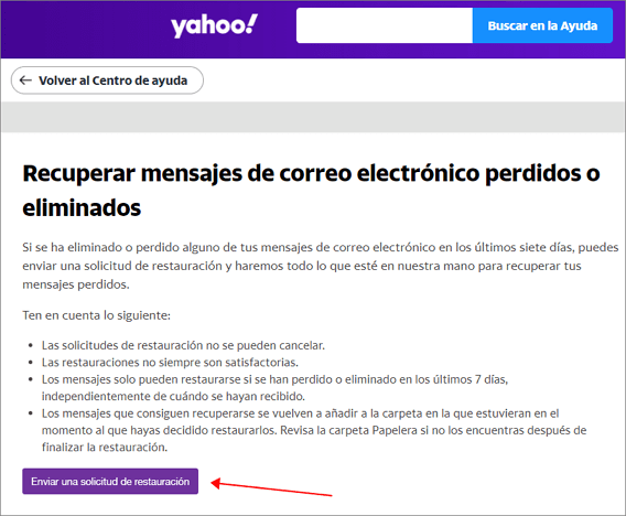 enviar solicitud de restauracion de email de yahoo