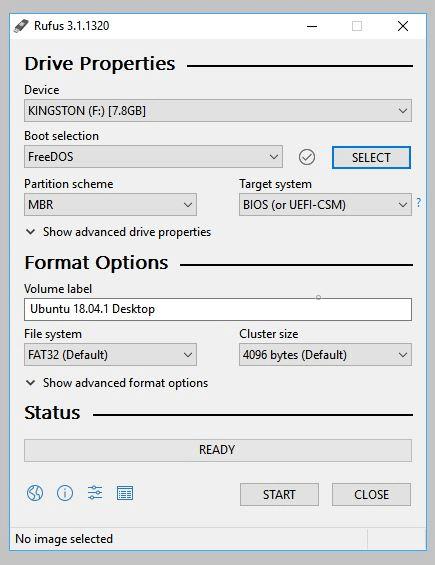 elegir FreeDOS para formatear