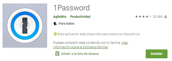 1password en Google Play Store