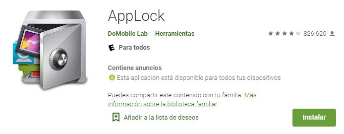 Applock en Google Play Sotre