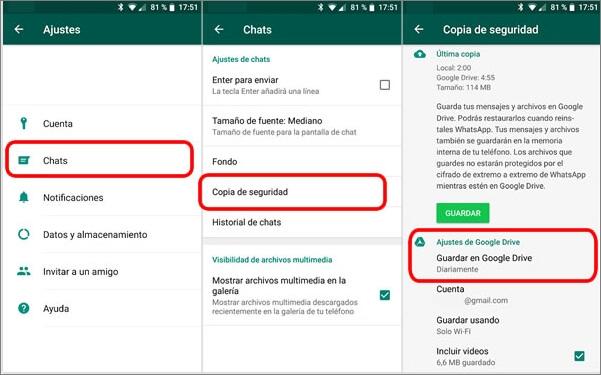 Respaldar mensajes de WhatsApp de Android a Google Drive