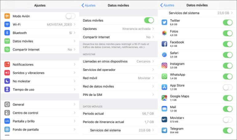 asegurar marcar todas las opciones en iPhone