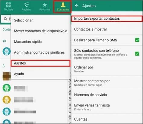 exportar contactos de Android a SIM