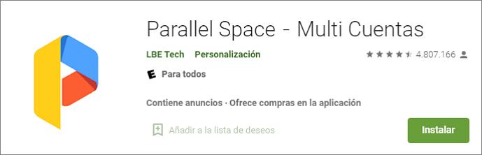 Parallel Space para duplicar WhatsApp