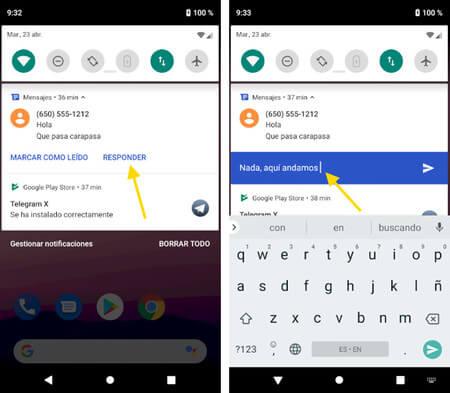 Responder a WhatsApp desde el panel de notificaciones