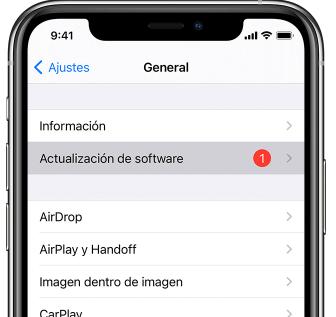 actualización de programa en iPhone