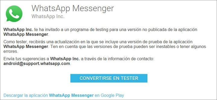 probar whatsapp beta