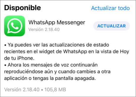 actualizar WhatsApp en iPhone