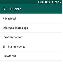 Whatsapp los ajustes a cuenta a cambiar el número