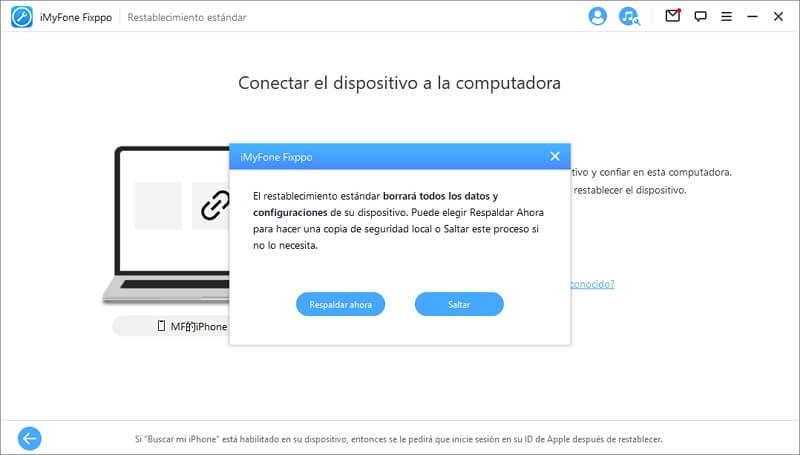 hacer copia de seguridad de iPhone antes de restablecer