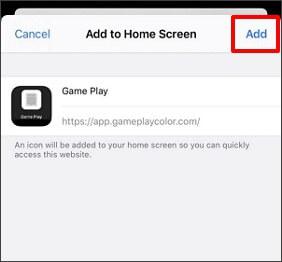 toque en agregar y agréguelo a la pantalla de inicio de su iphone