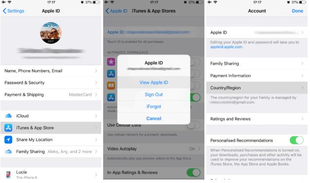 Cambiar la ubicación en la configuración del iPhone