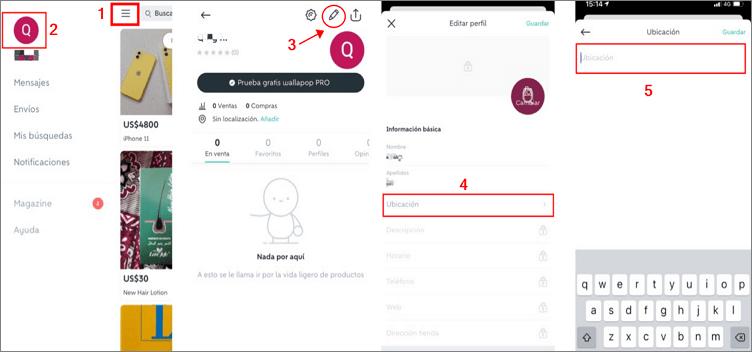 cambiar ubicación Wallapop desde la configuración de la cuenta