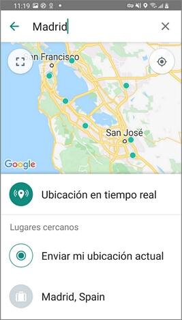 Elegir una ubicación falsa en WhatsApp para Android