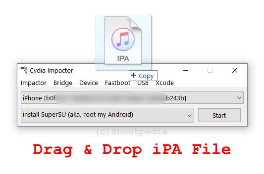 Arrastrar y soltar el IPA en Cydia Impactor