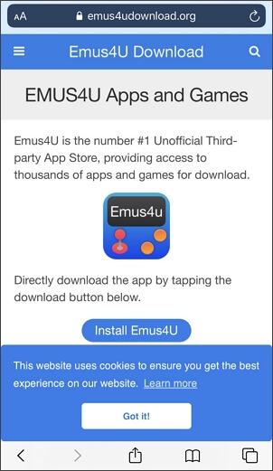 abra la aplicación emus4u y toque delta