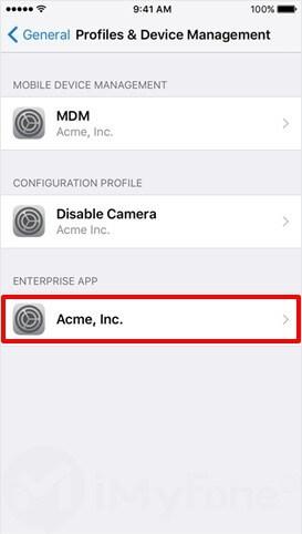 seleccione el emulador GBAiOS en la aplicación enterprise