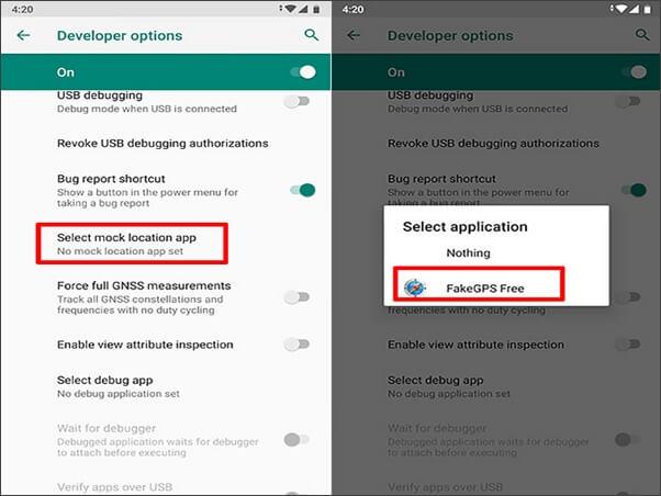seleccione apps para falsificar ubicaciones