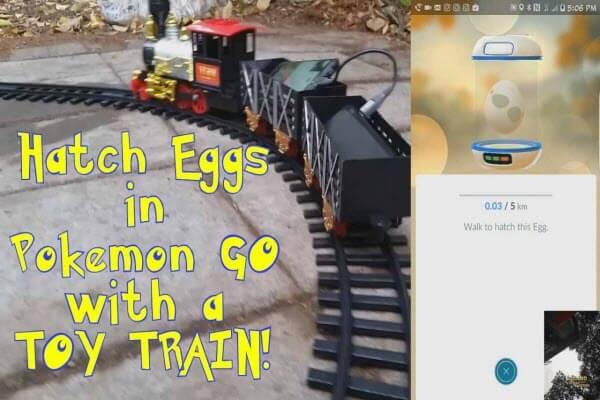 Usar un ferrocarril para incubar los huevos en Pokémon Go