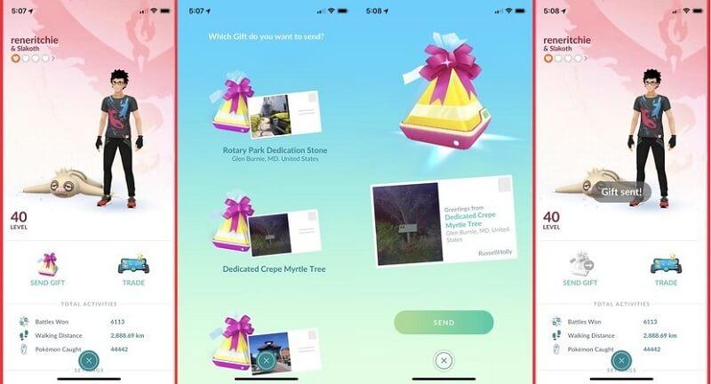 envía un regalo a tu amigo en Pokémon go
