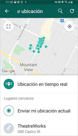 Buscar ubicación falsa en WhatsApp para Android