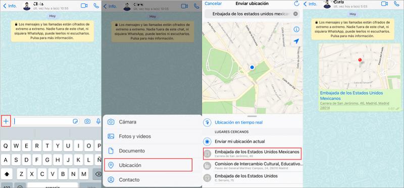 enviar una ubicación falsa en WhatsApp