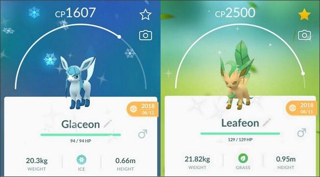glaceon leafeon Shiny en pokemon go
