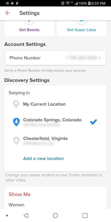 Configuración de descubrimiento con Tinder APK