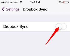 activar la sincronización de Dropbox en la configuraciones