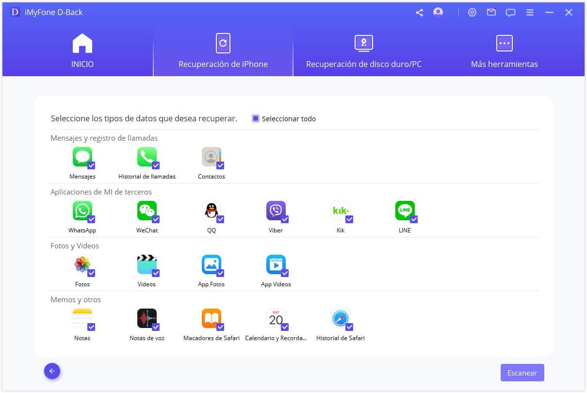 seleccionar los tipos de archivo