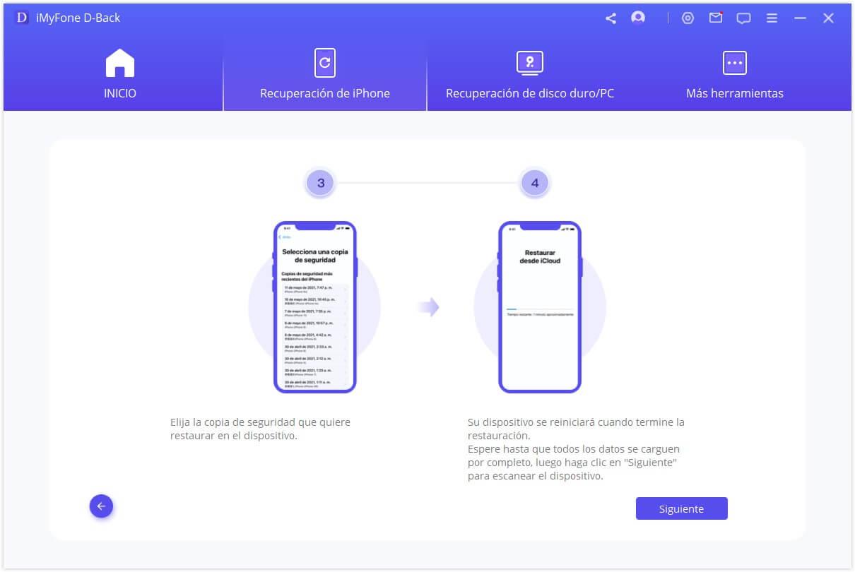elige la copia de seguridad de iCloud para restaurar