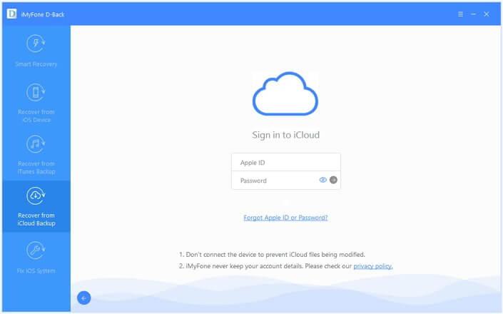 iMyFone D-Back completa la información de tu cuenta de iCloud