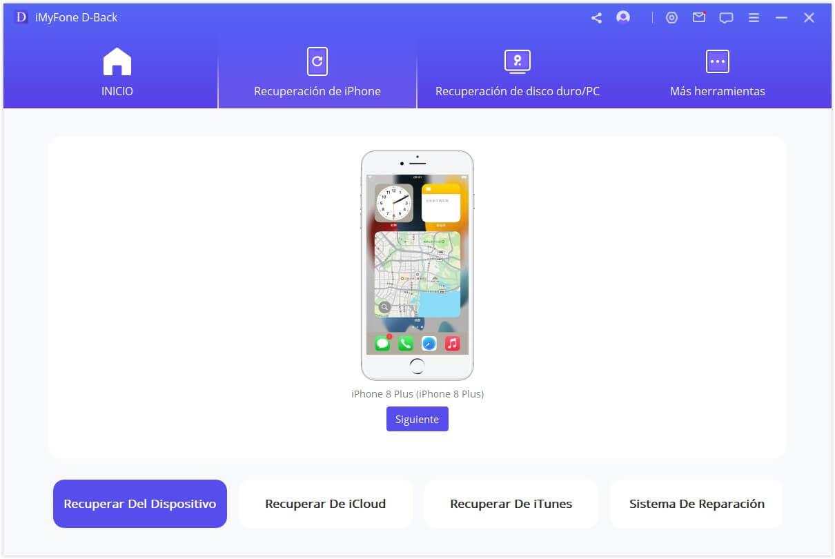 imyfone d back seleccione cómo perdió los datos