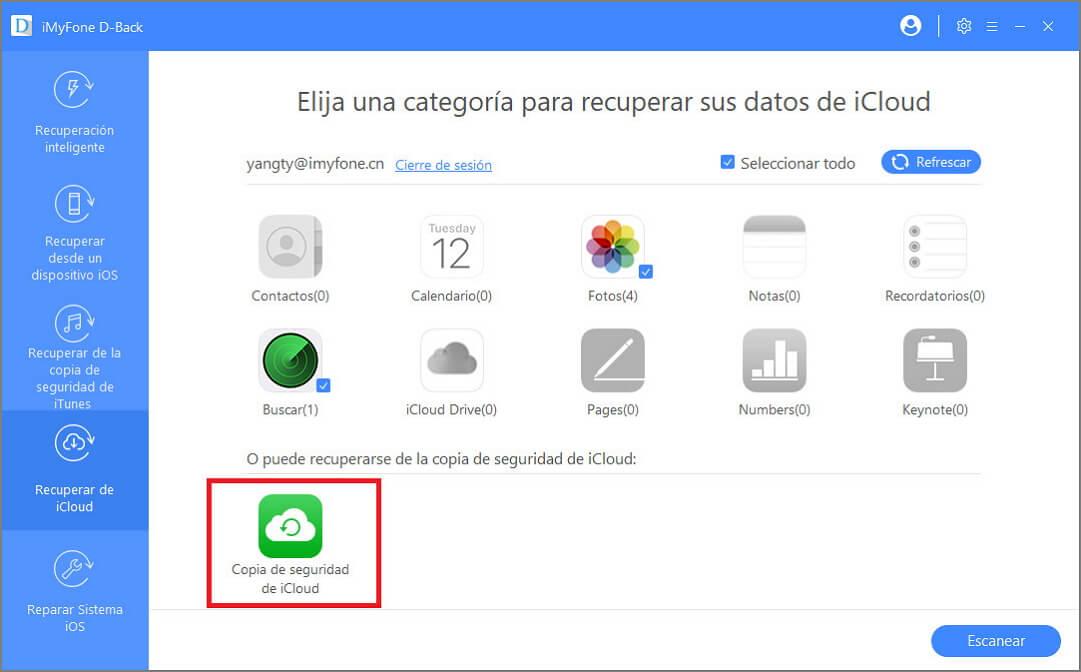 iMyFone D Back para iOS selecciona icloud respaldo