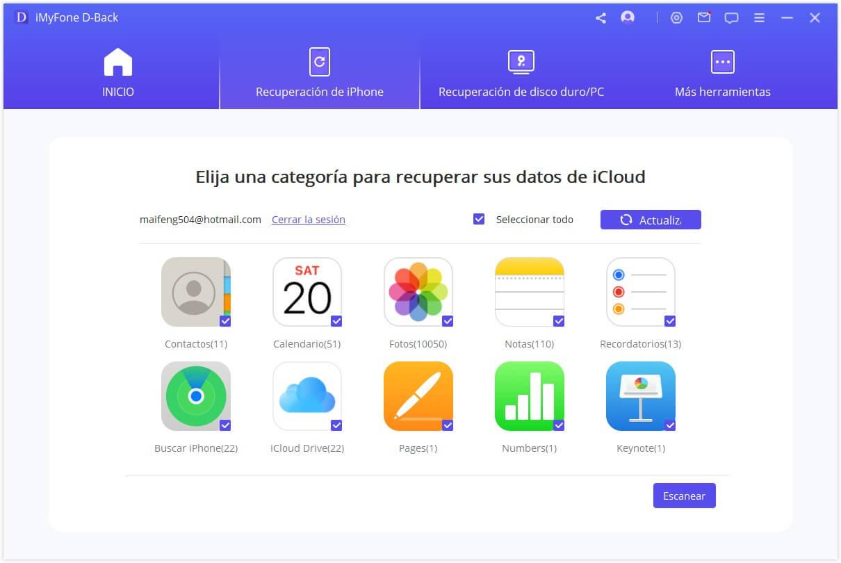 escanear las notas borradas de iCloud