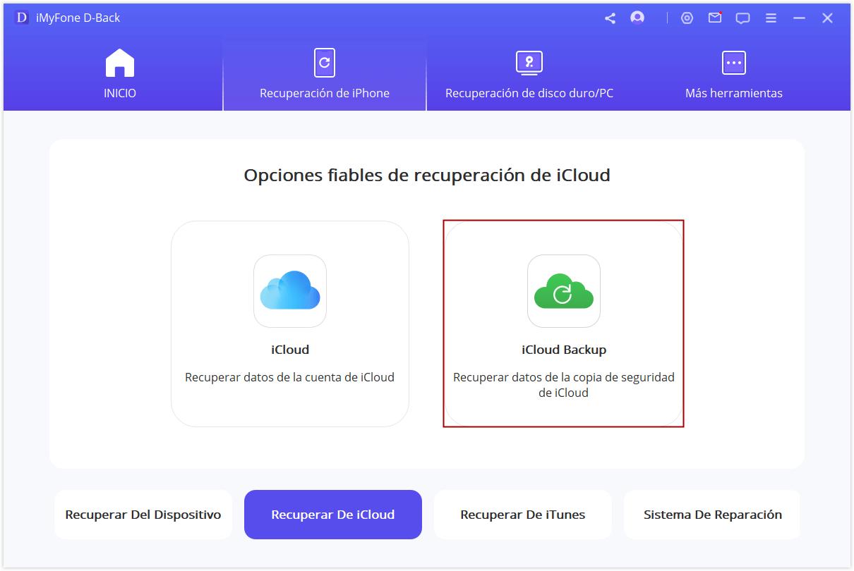 Selecciona recuperar desde la copia de seguridad de iCloud