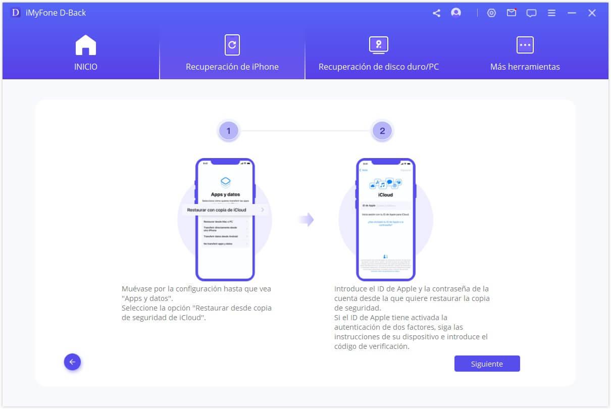 selecciona la opción Recuperar de la copia de seguridad de iCloud