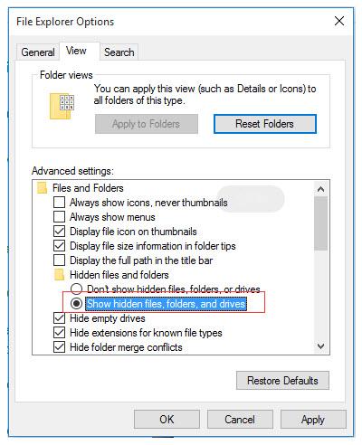 Cambiar la configuración en el Explorador de archivos