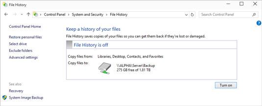 habilitar el historial de archivos