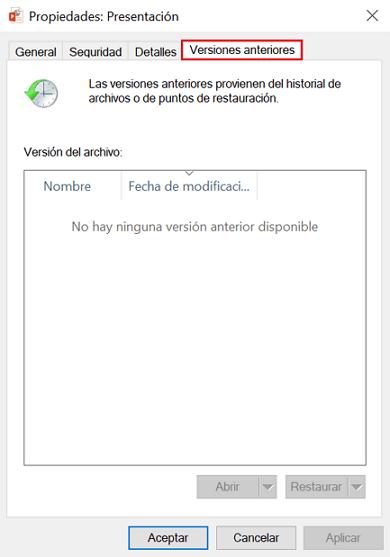 recuperar archivos PPT no guardados restaurando la versión antigua