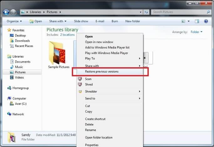 recuperar fotos borradas de la PC del historial de archivos