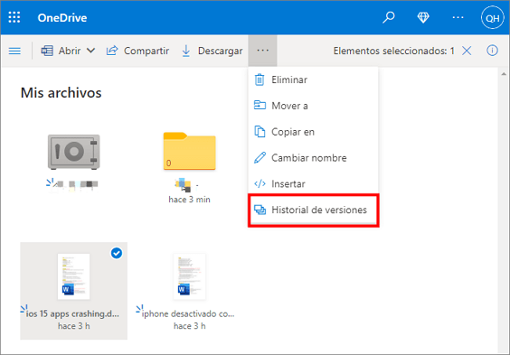 recuperar archivo excel via onedrive