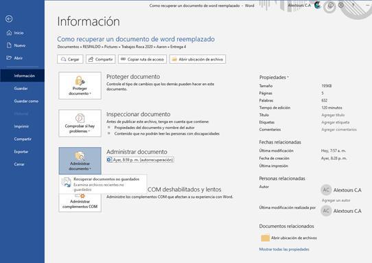 Recuperar un documento de word reemplazado desde archivos temporales
