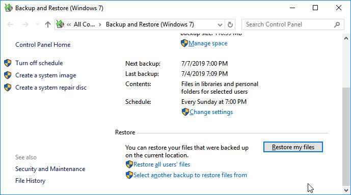 Recuperar archivos borrados permanentemente con el respaldo de Windows