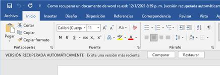 restaurar la version anterior de word
