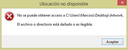 el archivo o directorio está dañado o es ilegible