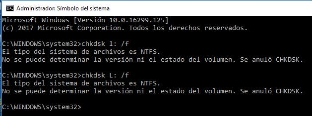 No se puede determinar la versión y el estado del volumen. se anuló CHKDSK