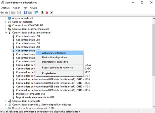actualizar el controlador de USB