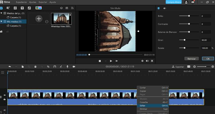cargar el video para girar en iMyFone Filme