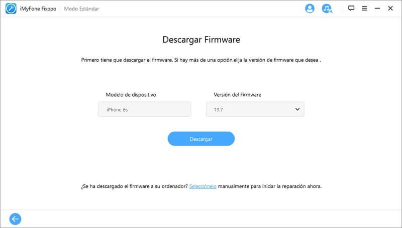 descargar versión de firmware en imyfone fixppo